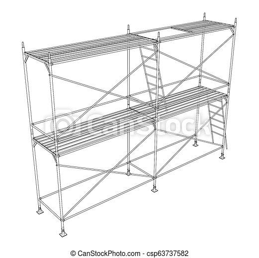 scaffold., アウトライン, イラスト, 3d - csp63737582