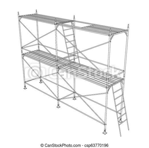 scaffold., アウトライン, イラスト, 3d - csp63770196