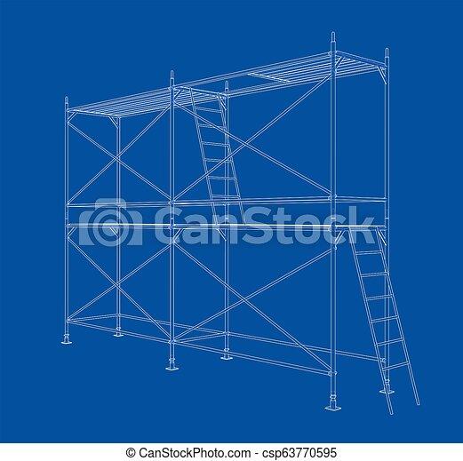 scaffold., アウトライン, イラスト, 3d - csp63770595