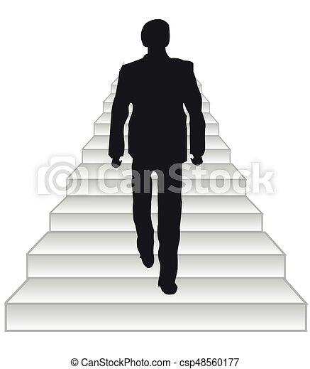 Salire Le Scale Disegno.Scala Persone Scala Silhouette Uomini Upwards Vector