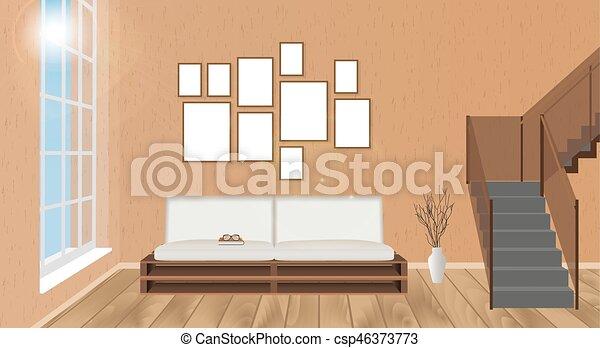 scala, soggiorno, pavimento, sole, mockup, divano, pavimentazione, cornici,  secondo, parquet, interno, glowing , vuoto