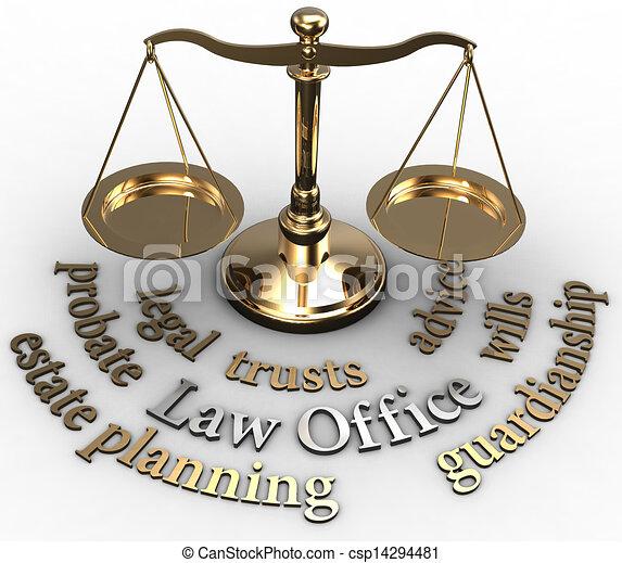 Scale estate probate wills attorney words - csp14294481