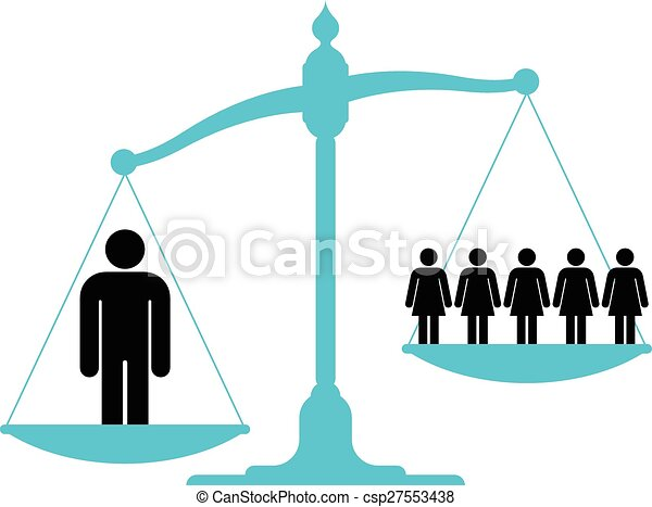 Scale weighing single man versus a group of women - csp27553438