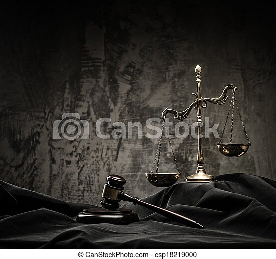 Scales and wooden hammer on judge's mantle  - csp18219000