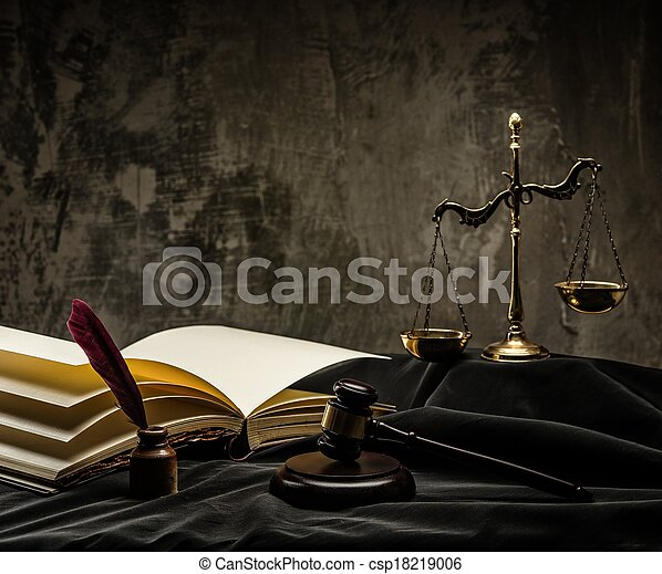 Scales and wooden hammer on judge's mantle  - csp18219006