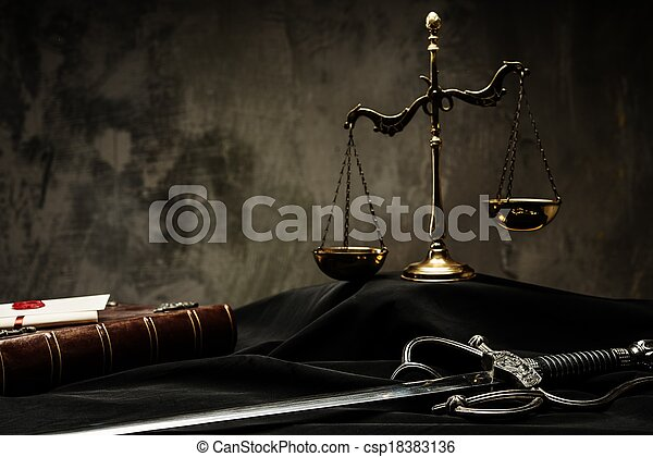 Scales, book and Sword of Justice on a judge's mantle - csp18383136