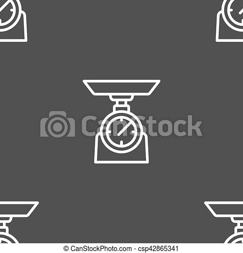 Scales Icon sign. Seamless pattern on a gray background. Vector - csp42865341