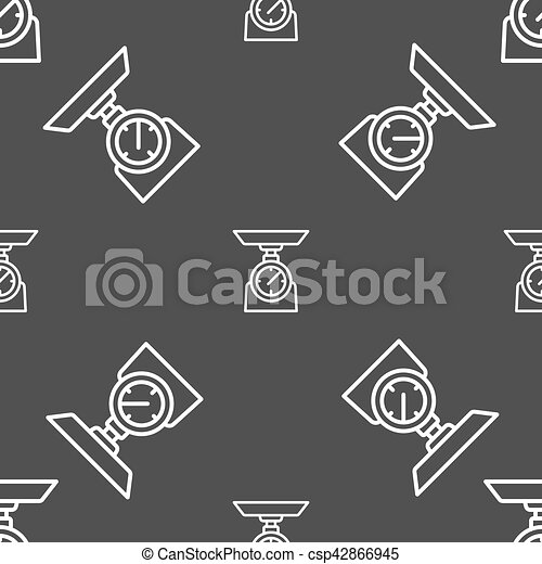 Scales Icon sign. Seamless pattern on a gray background. Vector - csp42866945