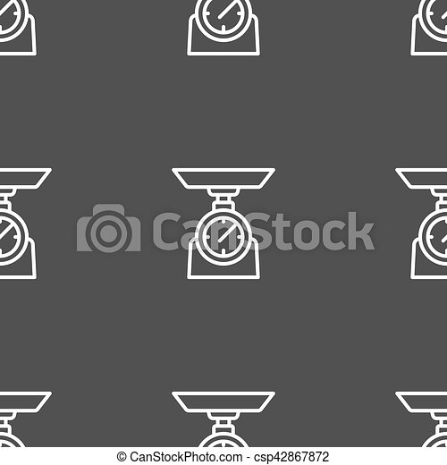 Scales Icon sign. Seamless pattern on a gray background. Vector - csp42867872