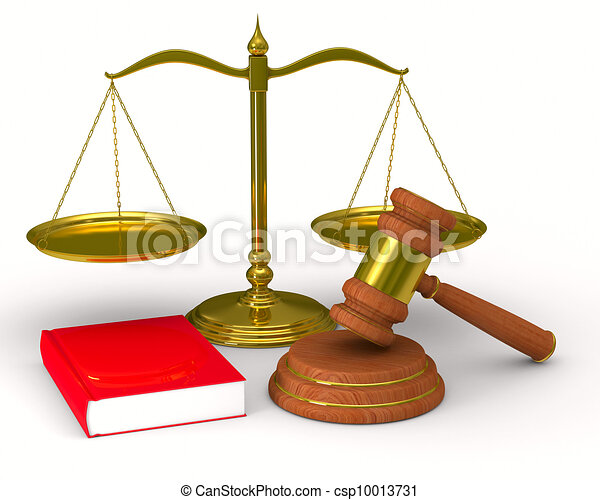 Scales justice and hammer on white background. Isolated 3D image - csp10013731