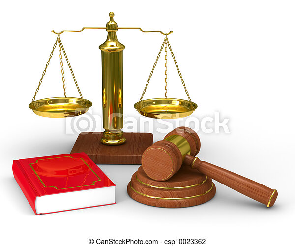 Balance Justice scales justice and hammer on white background. isolated 3d image.