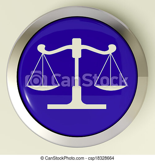 Scales Of Justice Button Means Law Trial - csp18328664
