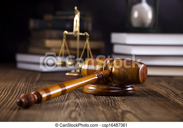 Scales of justice, gavel and law bo - csp16487361
