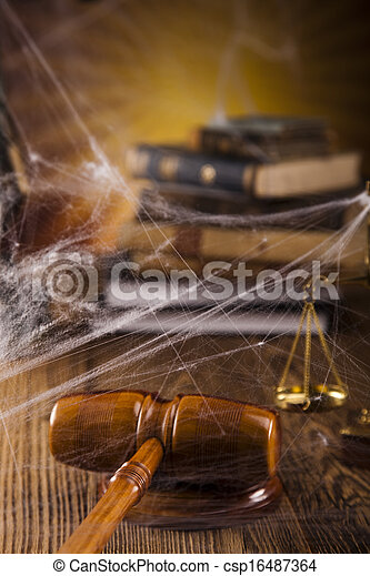 Scales of justice, gavel and law bo - csp16487364