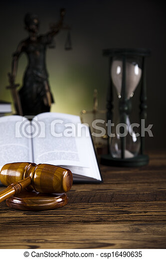 Scales of justice, gavel, law book - csp16490635