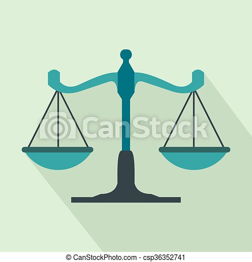 Scales of justice icon, flat style - csp36352741