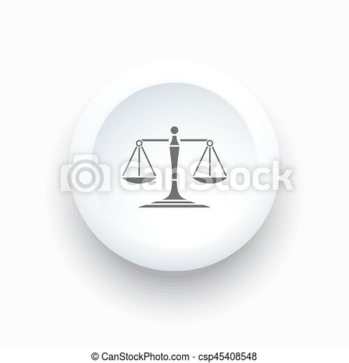 Scales of justice icon on a simple white button - csp45408548