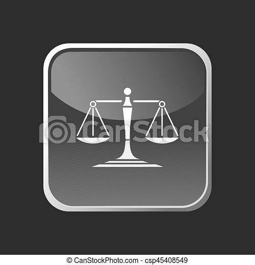 Scales of justice icon on a square button - csp45408549