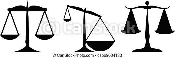 scales of justice icon on white background - csp69634133