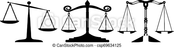 scales of justice icon on white background - csp69634125