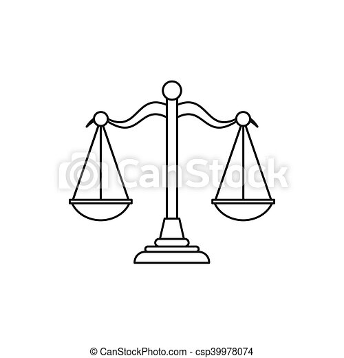 Scales of justice icon, outline style - csp39978074