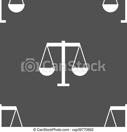 Scales of Justice icon sign. Seamless pattern on a gray background. Vector - csp39770662