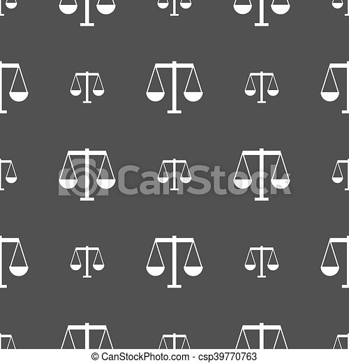 Scales of Justice icon sign. Seamless pattern on a gray background. Vector - csp39770763