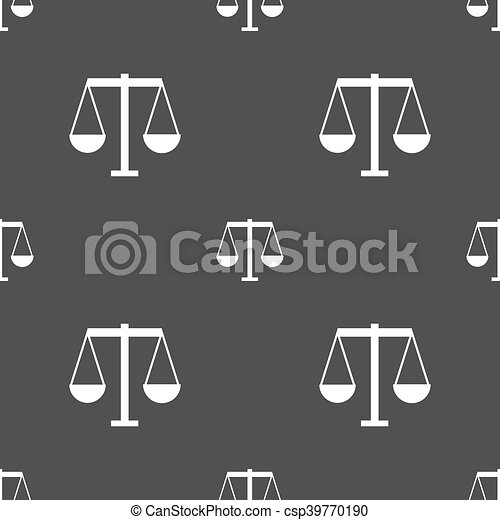 Scales of Justice icon sign. Seamless pattern on a gray background. Vector - csp39770190