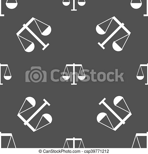 Scales of Justice icon sign. Seamless pattern on a gray background. Vector - csp39771212