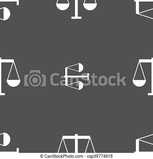 Scales of Justice icon sign. Seamless pattern on a gray background. Vector - csp39774918