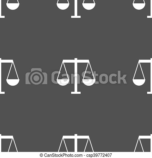 Scales of Justice icon sign. Seamless pattern on a gray background. Vector - csp39772407