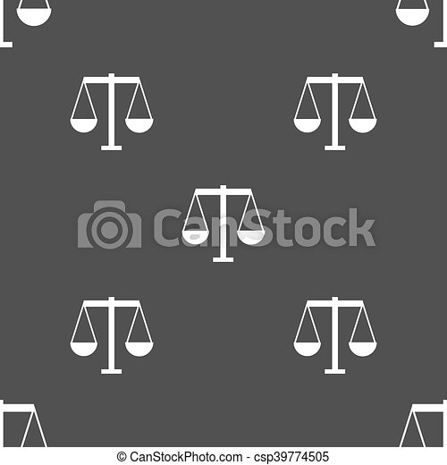 Scales of Justice icon sign. Seamless pattern on a gray background. Vector - csp39774505