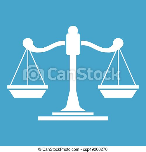 Scales of justice icon white - csp49200270