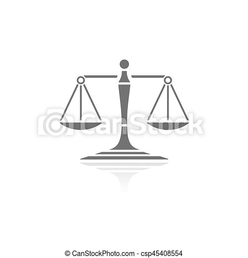 Scales of justice icon with reflection on a white background - csp45408554