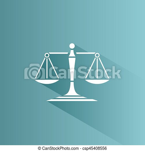 Scales of justice icon with shadow on a blue background - csp45408556
