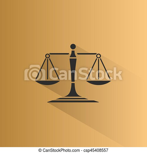 Scales of justice icon with shadow on a yellow background - csp45408557