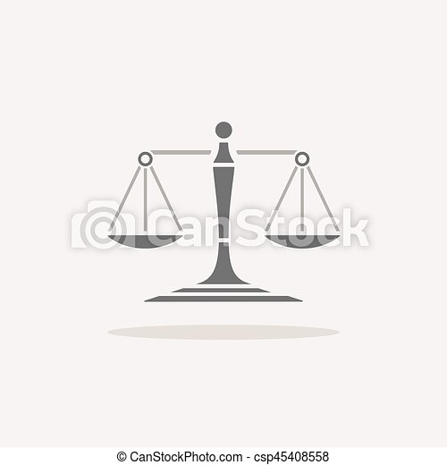 Scales of justice icon with shadow on beige background - csp45408558