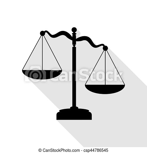 5e7536a3f92 Scales of Justice sign. Black icon with flat style shadow path. -  csp44786545