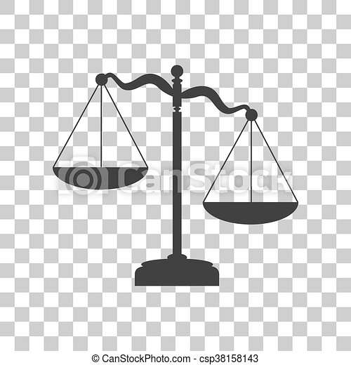 Scales of Justice sign. Dark gray icon on transparent background. - csp38158143