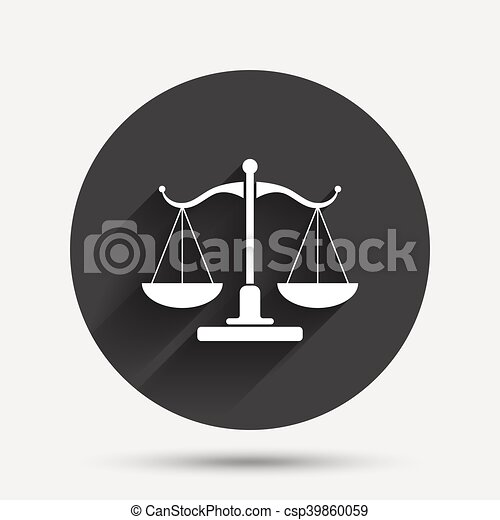 Scales Of Justice Sign Icon Court Of Law Symbol Circle Flat Button