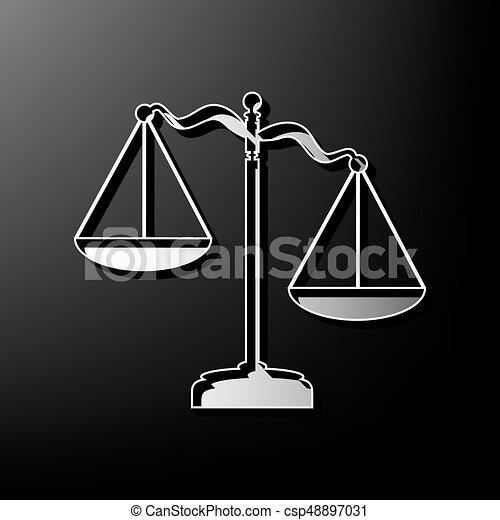 Scales of Justice sign. Vector. Gray 3d printed icon on black background. - csp48897031