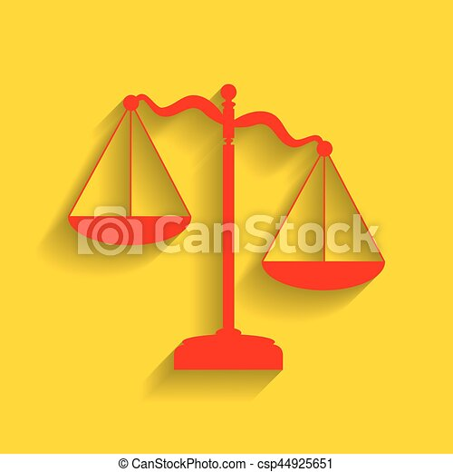 Scales of Justice sign. Vector. Red icon with soft shadow on golden background. - csp44925651