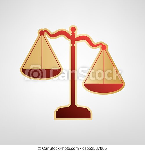 Scales of Justice sign. Vector. Red icon on gold sticker at light gray background. - csp52587885