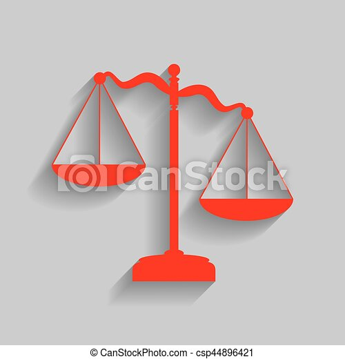 Scales of Justice sign. Vector. Red icon with soft shadow on gray background. - csp44896421