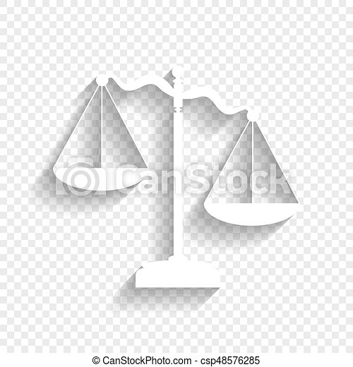 Scales of Justice sign. Vector. White icon with soft shadow on transparent background. - csp48576285