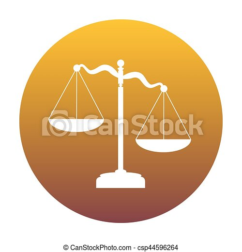 Scales of Justice sign. White icon in circle with golden gradien - csp44596264