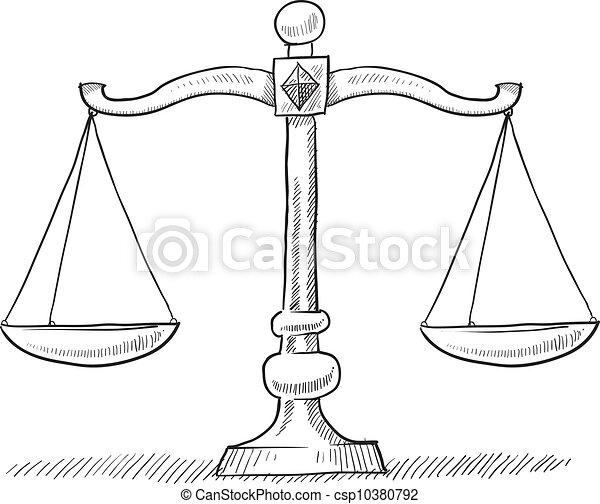 Scales of justice sketch - csp10380792