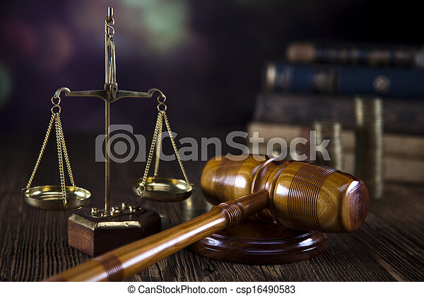Scales of Justice,judge gavel,coins - csp16490583