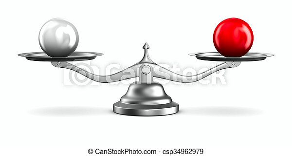 Scales on white background. Isolated 3D image - csp34962979