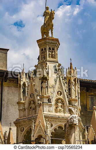 Scaliger Tombs, 14th century gothic funerary monument in Verona, Italy - csp70565234